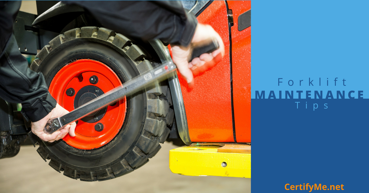 Forklift maintenance includes inspecting tires for wear and tear