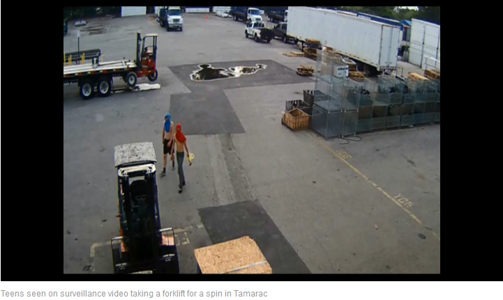 Five Florida Youths Busted in Forklift Joyride