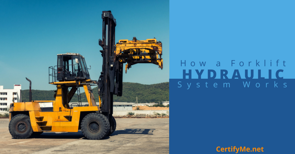 how a forklift hydraulic system works