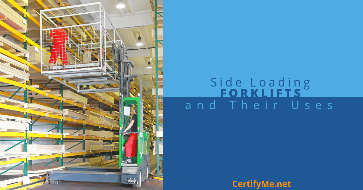 side loading forklifts are used in narrow warehouse aisles